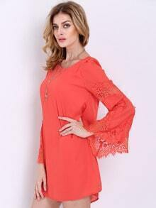 Orange Long Sleeve With Lace Dress
