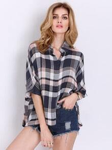 Pink Batwing Sleeve Plaid Blouse