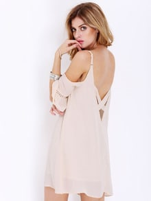 Apricot Spaghetti Strap Off The Shoulder Dress