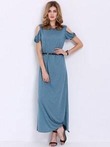 Blue Off The Shoulder Split Maxi Dress