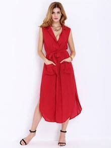 Red Sleeveless Tie-waist Pockets Dress