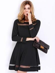 Black Long Sleeve Contrast Mesh Yoke Flare Dress