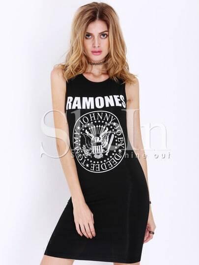 Black Sleeveless RAMONES Print Bodycon Dress