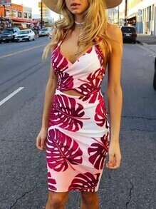 White Spaghetti Strap Leaves Print Bodycon Dress