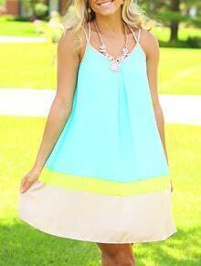 Blue Seafoam Spaghetti Strap Backless Color Block Babydoll Pastel Dress