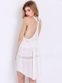 White Sleeveless Backless Dress
