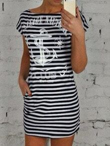 Black White House Round Neck Striped Anchor Print Dress