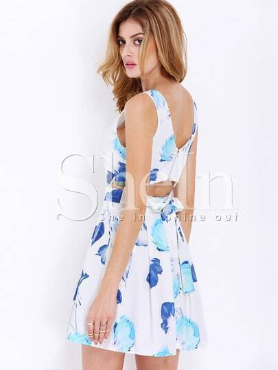 White Sleeveless Cut Out Floral Print Dress