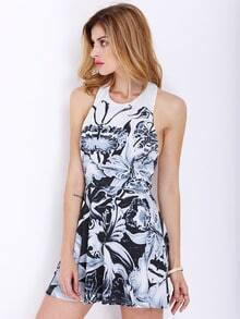 White Halter Backless Floral Print Dress