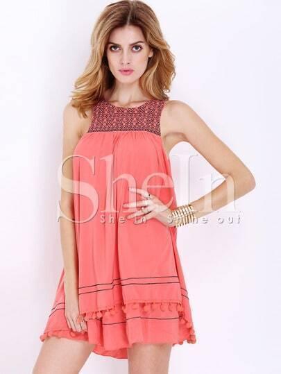 Orange Sleeveless Embroidered Dress