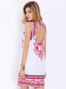 Multicolour Spaghetti Strap Backless Vintage Print Dress