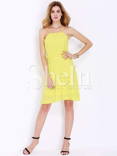 Yellow Lemon Spaghetti Strap Backless Dress