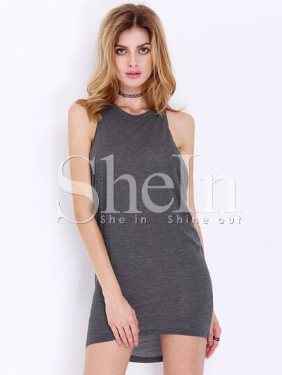 Grey Magaschoni Sleeveless High Low Dress