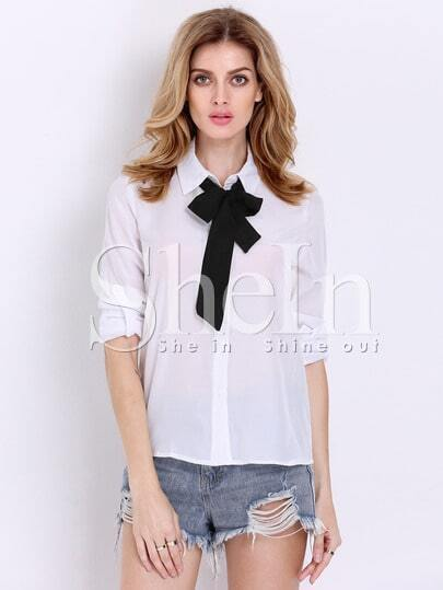 White Tie Neck Long Sleeve Different Typical Bowtie Collared Slim Blouse