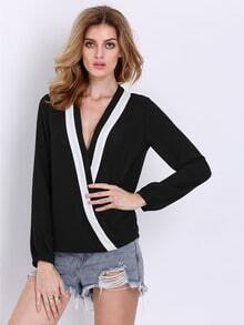 Black Long Sleeve Cross Front Blouse