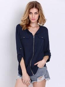Navy Long Sleeve Zipper Blouse