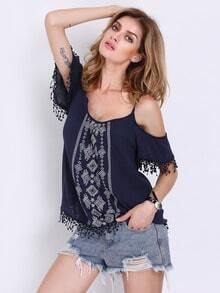 Navy Spaghetti Strap Tribal Embroidered Tassel Blouse