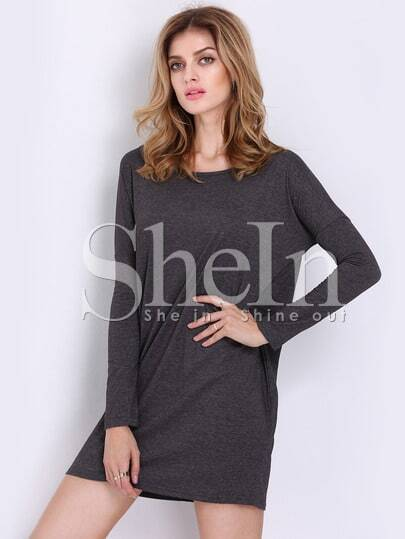 Dark Grey Round Neck Long Sleeve Loose Dress
