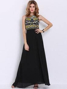 Black Sleeveless Ball Tribal Tradition Embroidery Maxi Dress
