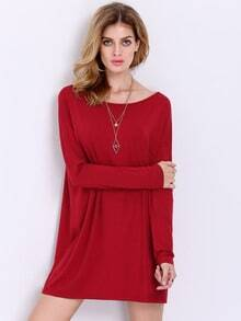 Wine Red Rouge Long Sleeve Casual Dress