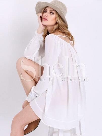 White Long Sleeve Cross Back Dress