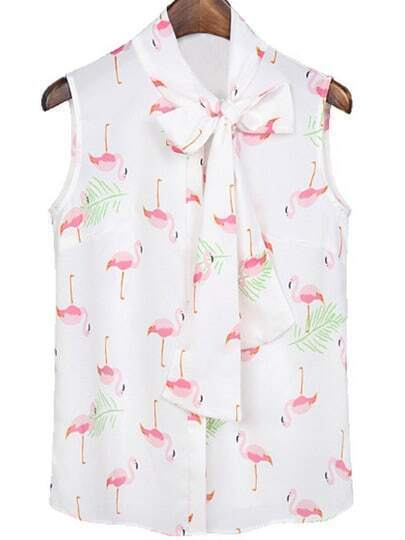 White Bow Collar Crane Print Chiffon Blouse