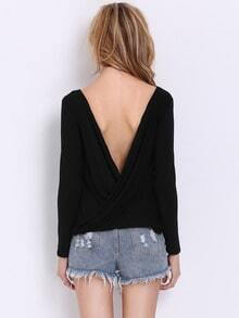 Black Long Sleeve Cross Backless T-shirt