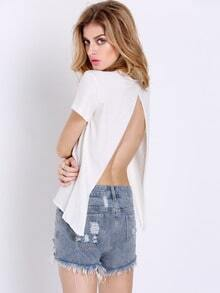 White Short Sleeve Back Split T-Shirt Tshirt