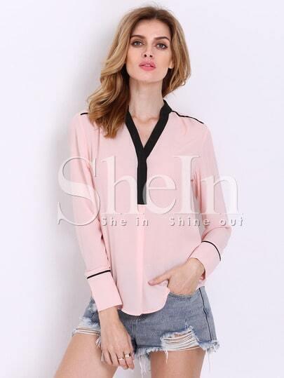 Pink Long Sleeve V Neck Blouse