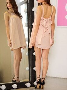 Apricot Faille Strap Bow Ruffle Dress