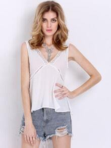 White Sleeveless V Neck Backless Tank Top