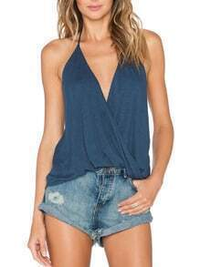 Blue Halter V Neck Backless Cami Top