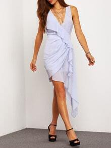 Grey V Neck Asymmetric Ruffle Dress