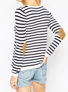 White Black Long Sleeve Striped Sweater