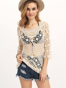 Apricot Long Sleeve Style Crochet Lace Blouse