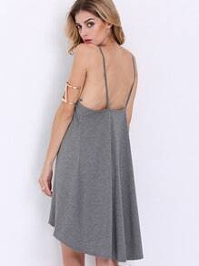 Grey Spaghetti Strap Backless High Low Dress