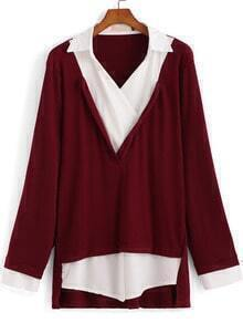Red Lapel Long Sleeve Loose Blouse