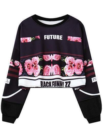 Black Rose Letter Print Crop Sweatshirt