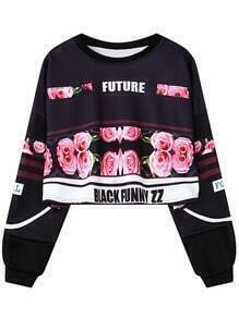 Black Rose Letter Print Crop Sweatshirt