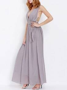 Light Purple Deep V Neck Maxi Dress
