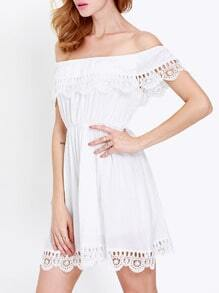 White Off the Shoulder Lace Scalloped Casual Dress