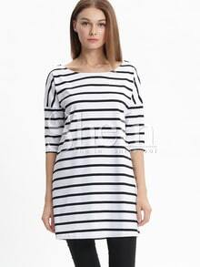 White Half Sleeve Chambray Stripy Fringes Stria Striped Dress