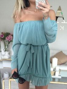 Blue Seafoam Kaftans Puffball Long Sleeve Off The Shoulder Dress