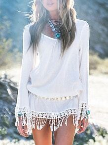 Whites Long Sleeve With Lace Tassel Fringed Dress