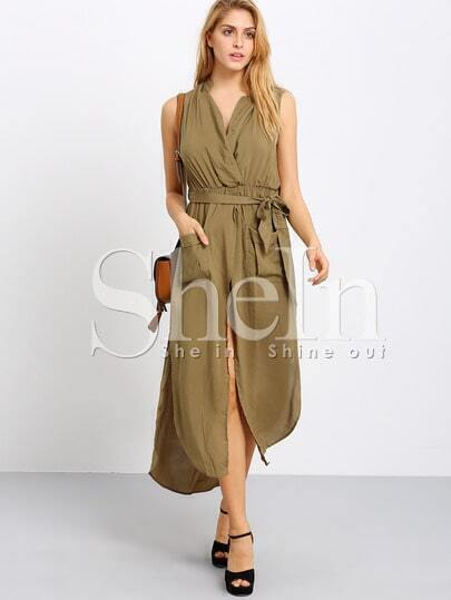 Army Green Tying Surplice Sleeveless V Neck Split Pockets Dress