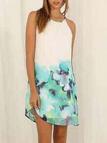 White Poplin Spaghetti Strap Floral Print Color Block Petites Dress