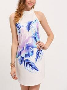 White Sleeveless Flower Feather Print Dress