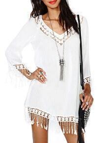 White Long Sleeve Hollow Tassel Panelled Trimmed Dress