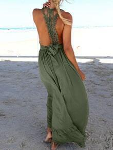 Army Green Deep V Neck Backless Maxi Dress