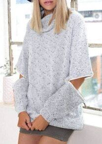 Grey High Neck Hollow Long Sleeve Knit Sweater